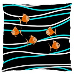 Five Orange Fish Large Flano Cushion Case (one Side) by Valentinaart