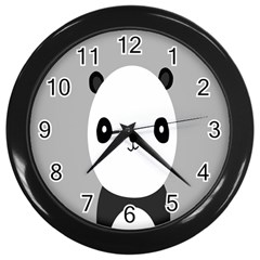 Cute Panda Animals Wall Clocks (black) by AnjaniArt