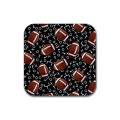 Football Player Rubber Square Coaster (4 Pack)  by AnjaniArt