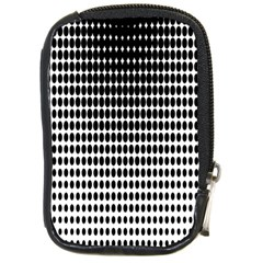 Dark Circles Halftone Black White Copy Compact Camera Cases by AnjaniArt