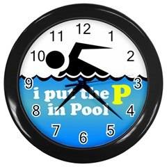 Funny Swiming Water Wall Clocks (black) by AnjaniArt