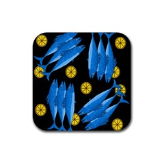 Mackerel Meal Rubber Square Coaster (4 Pack)  by Valentinaart