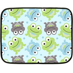 Frog Green Double Sided Fleece Blanket (mini)  by AnjaniArt