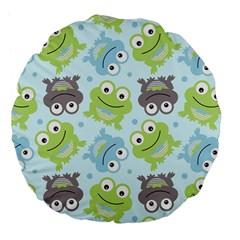 Frog Green Large 18  Premium Flano Round Cushions by AnjaniArt