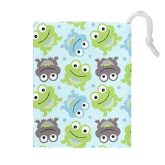 Frog Green Drawstring Pouches (extra Large) by AnjaniArt