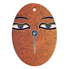 Face Eye Oval Ornament (two Sides)