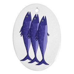 Mackerel    Purple Oval Ornament (two Sides) by Valentinaart
