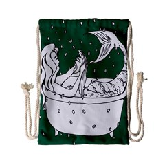 Green Mermaid Drawstring Bag (small) by AnjaniArt