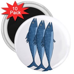 Mackerel 3  Magnets (10 Pack)  by Valentinaart