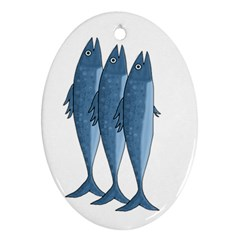 Mackerel Oval Ornament (two Sides) by Valentinaart