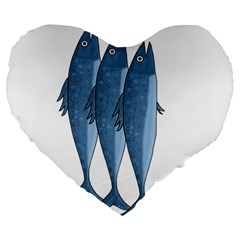 Mackerel Large 19  Premium Heart Shape Cushions by Valentinaart