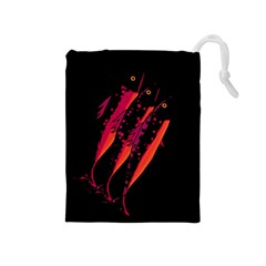 Red Fish Drawstring Pouches (medium)  by Valentinaart