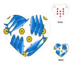 Mackerel Meal 2 Playing Cards (heart)  by Valentinaart