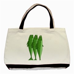 Mackerel   Green Basic Tote Bag (two Sides) by Valentinaart