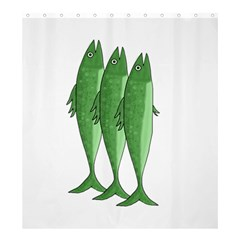 Mackerel   Green Shower Curtain 66  X 72  (large)  by Valentinaart