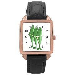 Mackerel   Green Rose Gold Leather Watch  by Valentinaart