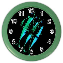 Green Fish Color Wall Clocks by Valentinaart