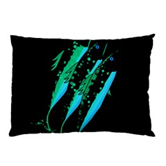 Green Fish Pillow Case (two Sides) by Valentinaart