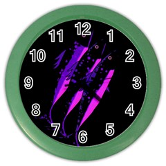 Purple Fish Color Wall Clocks by Valentinaart