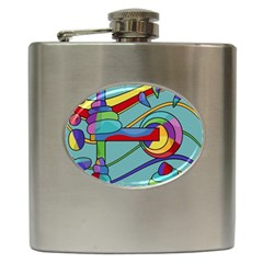 Abstract Machine Hip Flask (6 Oz) by Valentinaart