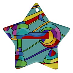 Abstract Machine Star Ornament (two Sides)  by Valentinaart