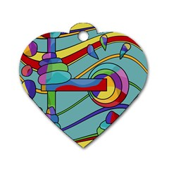 Abstract Machine Dog Tag Heart (one Side)