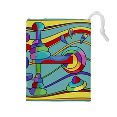 Abstract Machine Drawstring Pouches (large)  by Valentinaart