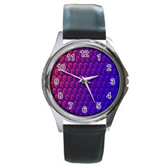 Outstanding Hexagon Blue Purple Round Metal Watch