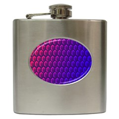 Outstanding Hexagon Blue Purple Hip Flask (6 Oz)