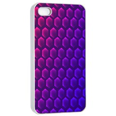 Outstanding Hexagon Blue Purple Apple Iphone 4/4s Seamless Case (white) by AnjaniArt