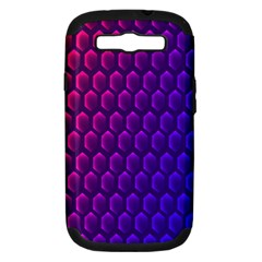 Outstanding Hexagon Blue Purple Samsung Galaxy S Iii Hardshell Case (pc+silicone)