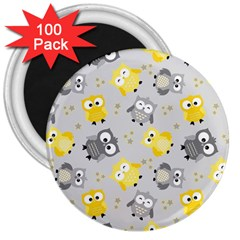 Owl Bird Yellow Animals 3  Magnets (100 Pack)