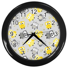 Owl Bird Yellow Animals Wall Clocks (black) by AnjaniArt