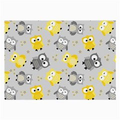 Owl Bird Yellow Animals Large Glasses Cloth (2 Side) by AnjaniArt