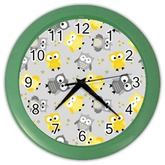 Owl Bird Yellow Animals Color Wall Clocks by AnjaniArt