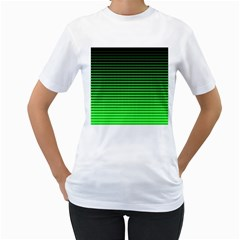 Neon Green And Black Halftone Copy Women s T Shirt (white) (two Sided)