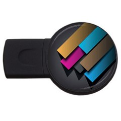 Shapes Box Brown Pink Blue Usb Flash Drive Round (4 Gb)  by AnjaniArt