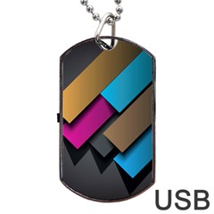 Shapes Box Brown Pink Blue Dog Tag Usb Flash (one Side) by AnjaniArt
