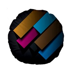 Shapes Box Brown Pink Blue Standard 15  Premium Round Cushions