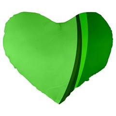 Simple Green Large 19  Premium Flano Heart Shape Cushions by AnjaniArt