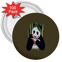 Simple Joker Panda Bears 3  Buttons (100 Pack)