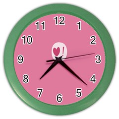 Valentines Pink Day Copy Color Wall Clocks by AnjaniArt