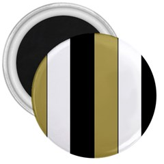 Black Brown Gold White Stripes Elegant Festive Stripe Pattern 3  Magnets by yoursparklingshop