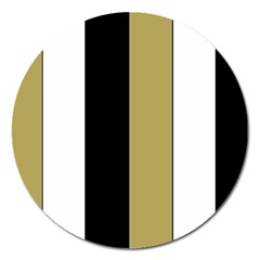 Black Brown Gold White Stripes Elegant Festive Stripe Pattern Magnet 5  (round) by yoursparklingshop