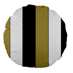 Black Brown Gold White Stripes Elegant Festive Stripe Pattern Large 18  Premium Round Cushions by yoursparklingshop