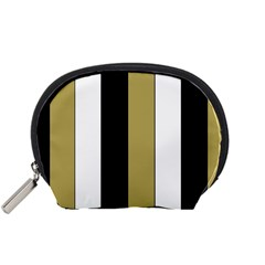 Black Brown Gold White Stripes Elegant Festive Stripe Pattern Accessory Pouches (small)  by yoursparklingshop