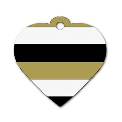 Black Brown Gold White Horizontal Stripes Elegant 8000 Sv Festive Stripe Dog Tag Heart (one Side) by yoursparklingshop