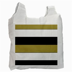Black Brown Gold White Horizontal Stripes Elegant 8000 Sv Festive Stripe Recycle Bag (one Side) by yoursparklingshop