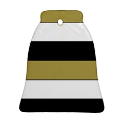 Black Brown Gold White Horizontal Stripes Elegant 8000 Sv Festive Stripe Bell Ornament (2 Sides) by yoursparklingshop