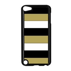 Black Brown Gold White Horizontal Stripes Elegant 8000 Sv Festive Stripe Apple Ipod Touch 5 Case (black) by yoursparklingshop